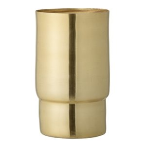 Vaso cilindrico in metallo dorato