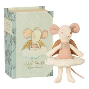 Topino angelo nella sua scatola a libro