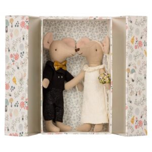 topini sposi in coppia con scatola