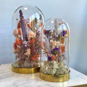 cloche fiorita viola e corallo