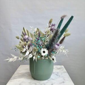 vaso fiorito petrolio e lilla
