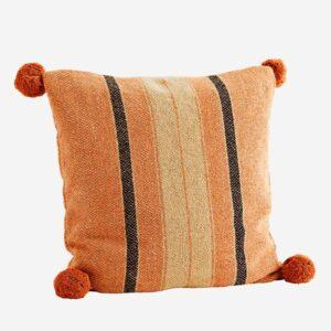 cuscino a righe con pon pon
