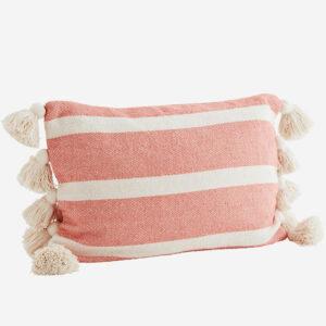 cuscino a righe con nappe