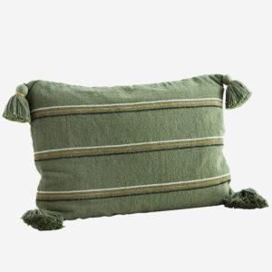 cuscino a righe verdi, ocra, nero